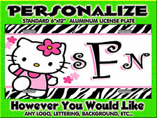Hello Kitty Zebra Print Pink  Background PERSONALIZED Bike Sized  License Plate