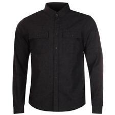 Firetrap Oxleas Mens Brushed Cotton Shirt Size Small Dark Grey Bnwt