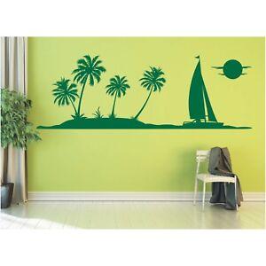 Landschaft Wandtattoo Meer Palmen Segelschiff Insel Strand Sticker Wandaufkleber