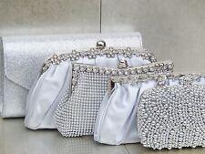 Silver Diamante Crystal Satin Bridal Wedding Prom Purse Clutch Bag Handbag Uk
