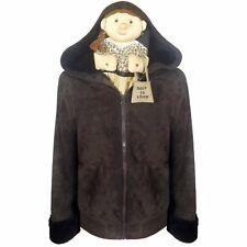 JOSEPH Women Sheepskin Coat Size L Womens Brown Leather Jacket Hood NWT $1770