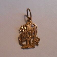 Solid 14K Yellow Gold #1 Mom Mother Charm Pendant Jewelry 14KT Not Scrap 585 NR
