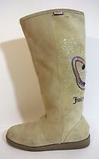 High Winter boots Beige Tan embroidered  sz 10 Jucy Couture SUEDE  *1008