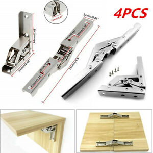 4x 90 Degree 180° Folding Shelf Door Hinge Hidden Bracket Table Holder Furniture