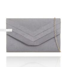 New Grey Suede Wedding Ladies Party Prom Evening Clutch Hand Bag Purse HandBag