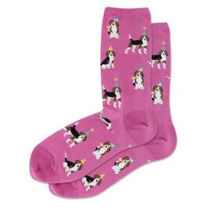 Party Beagles Hot Sox Women's Crew Socks Pink New Novelty Adorable Bark Fashion*