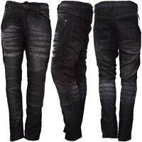 New Mens Motorcycle Motorbike Jeans Denim Trouser Protective Inner Black Jeans
