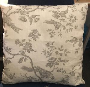 "SALE ! J Lewis Botanical Birds Linen Fabric 17"" Cushion Cover Grey Ivory Reverse"