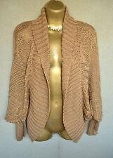 ZARA Brown chunky knit shrug cardigan, batwing MEDIUM M