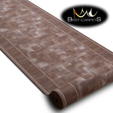 Modern HALL Runner Rugs 'TRIBE' brown NON-slip Stairs Width 67-100cm extra long