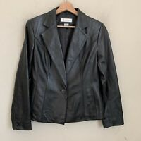 Preston & York Womens Jacket Black Lambskin Leather Buttons Pockets Lined Size S