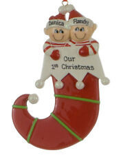 Elf Couple Personalized Christmas Tree Ornament