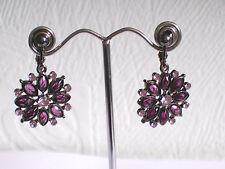 Flower clip-on earrings black/purple diamante - pierced option on request