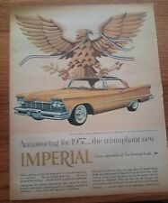 "1957 Chrysler Imperial Crown Vintage Magazine Ad ""the triumphant new"""