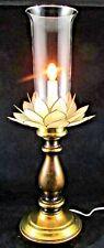 Stunning Vintage Lotus Flower Candlestick Boudoir Table Lamp Capiz Shell Shade