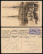 FRANCE 1927 CHERBOURG CONTINUOUS MACHINE SLOGANS CANCEL...PPC BOATS