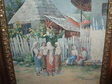 tolles Aquarell Dorf in Rumänien Frauen mit Kind, Hans Aescher *1866-1947