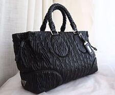 VERIFIED Authentic Gorgeous Prada Black Chevron Napa Leather Bag