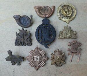 10 British Army Victorian cap badges