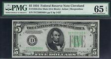 $5 1934 Cleveland Mule. Fr. 1956-Dm. PMG 65 EPQ. Nice Note