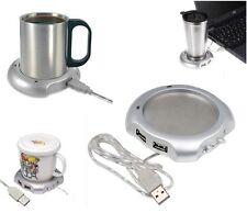 USB Tea Coffee Chocolate Cup Mug Warmer Heater Pad with 4 Port USB Hub PC Laptop