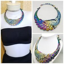 Multi Color Carving Peacock Turquoise Metal Necklace Maxi Ethnic Choker Women