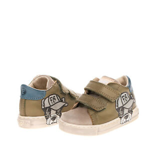FALCOTTO Baby Leather Sneakers EU 19 UK 3 US 4 Logo Dog Print Worn & dirty look
