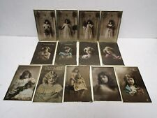 More details for vintage 1920s young girl postcards in frames x13 greetings etc excellent (b164)