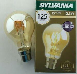 6 x Sylvania 2.3W LED vintage BC GLS spiral filament 125lm 2000k B22 Antique