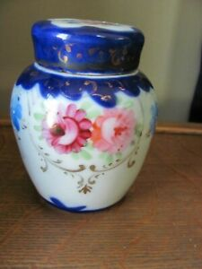 ANTIQUE SMALL HAND PAINTED PORCELAIN COVERED JAR