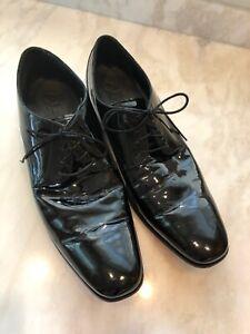 Cole Haan Mens Black Patent Leather Tuxedo Oxfords 11M