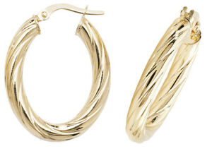 9CT GOLD HOOP EARRINGS OVAL CREOLE TWISTED ROUND TUBES PATTERENED SLEEPER LOOPS