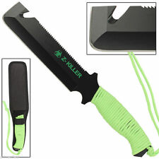 Zombie Killer Gut Hook Tactical and Survival Knife with Neon Green Cord Wrapped