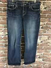 The Buckle BKE DENIM KATE Thick Stitch Mid Rise Cropped Jeans Sz 29 Blue