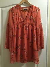 NEW Abercrombie & Fitch Women's Peach Boho Floral   Dress, Size M Fall Party
