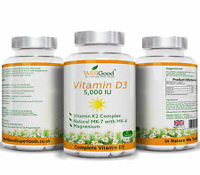Vitamin K2 with High Strength Vitamin D3 5,000IU + Magnesium Bis-Glycinate veg
