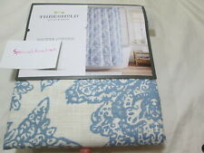 Threshold Quality & Design Fabric Shower Curtain Blue FLORAL ~ Blue and Ivory