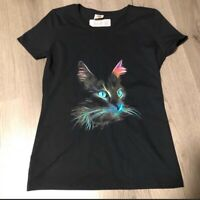 Black Cat Graphic T Shirt Women's Small New No tags