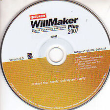 Quicken WILLMAKER Plus 2007 Estate Planning Software Taxes Helper Windows PC NEW
