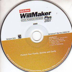 Quicken WILLMAKER Plus 2007 Estate Planning Software Taxes Helper Windows PC NEW