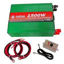 12 Volt 1500 Watt PURE Sine Wave Mains Power Inverter 12V to 240V Car, Camping