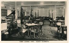 Cabin Lounge, Rms Queen Elizabeth Cruise Liner Ship Postcard, Posted at Sea
