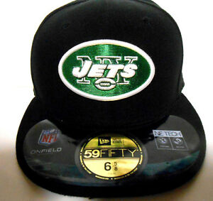 NEW ERA York NY Jets 59Fifty NFL Football Fitted Hat Cap Size 6 5/8 BLACK Onfiel
