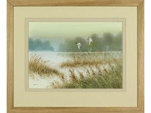 Ducks In Flight' / Lake Landscape - Original Watercolour painting, signed art
