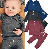 Newborn Infant Baby Outfits Boy Girl Long Sleeve Tops Pants Trouser Clothes Set