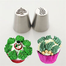 2Pcs Christmas Tree Icing Russian Piping Tip Leaf Nozzle Cupcake Pastry Tool