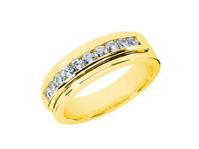 0.60Ct Round Cut Mens Wedding Band Ring 18K Yellow Gold F VS2 Channel Setting