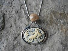 MERMAID, SIREN, CAMEO NECKLACE WITH REAL SHELL - TROPICAL - CRUISE - VACATION S1