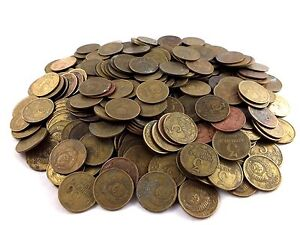 SOVIET RUSSIA USSR LOT OF 100 USSR 3 KOPEK COINS 1961-1991 Hammer and Sickle