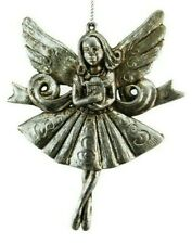 Fairy Christmas Tree Hanging Decoration Vintage Distressed Aged Silver